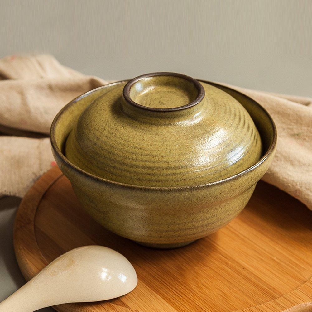 "6.25/"" Japanese Style Ceramic Serving Soup Bowls Coarse Pottery Noodles Bowls SANFEN Small Rice Bowl with Lids"