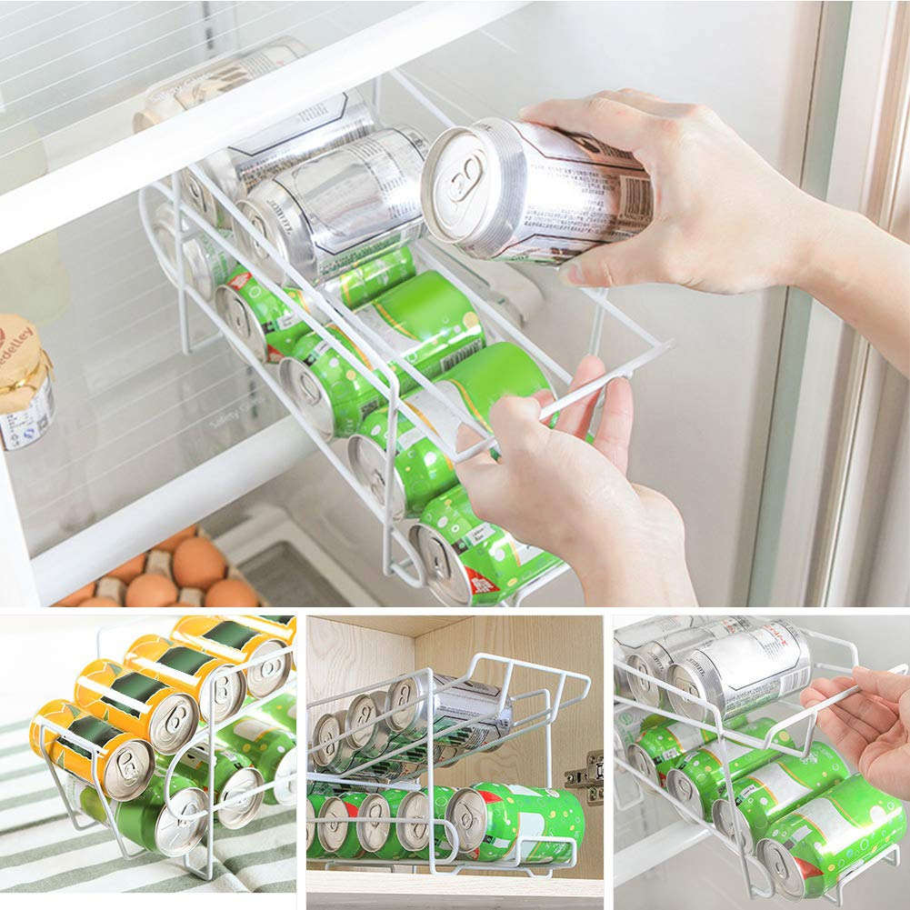 Yunhigh-uk Beverage Can Dispenser for Refrigerator 2 Tier Pop Can Soda Can Holder Storage Rack Organizer Sturdy Iron Shelf for Kitchen Cabinet Pantry Countertop Freezer White