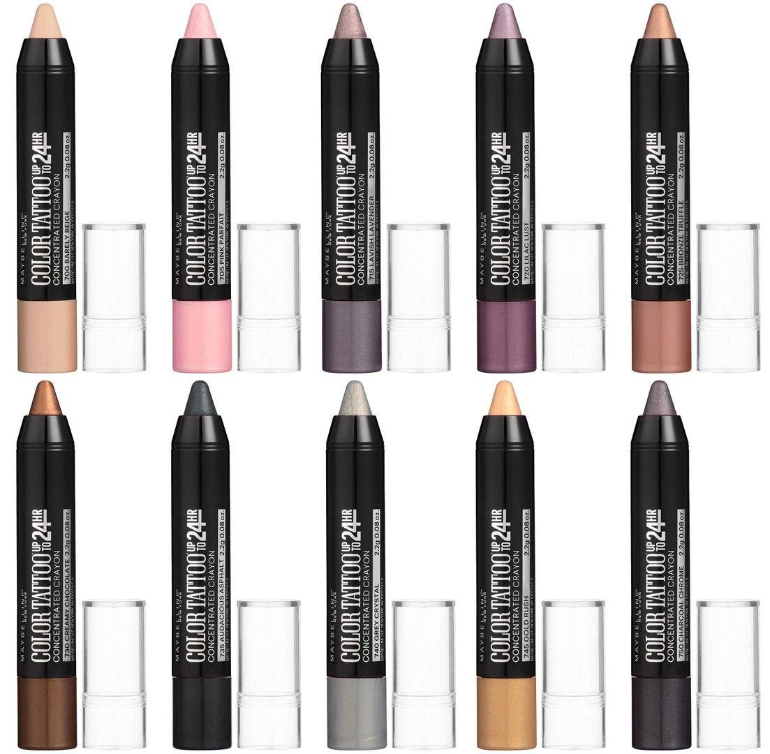 Maybelline New York Eyestudio Colortattoo Concentrated Crayon Eye Color, 10-Piece Set (Complete Set of All 10 Colors)