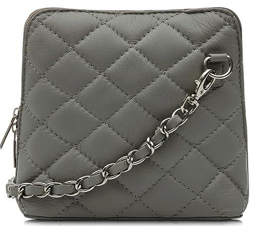 5d82119a5e75 Handbag Bliss Italian Leather Quilted Designer Inspired Cross body Cross  over Shoulder Bag (Grey)