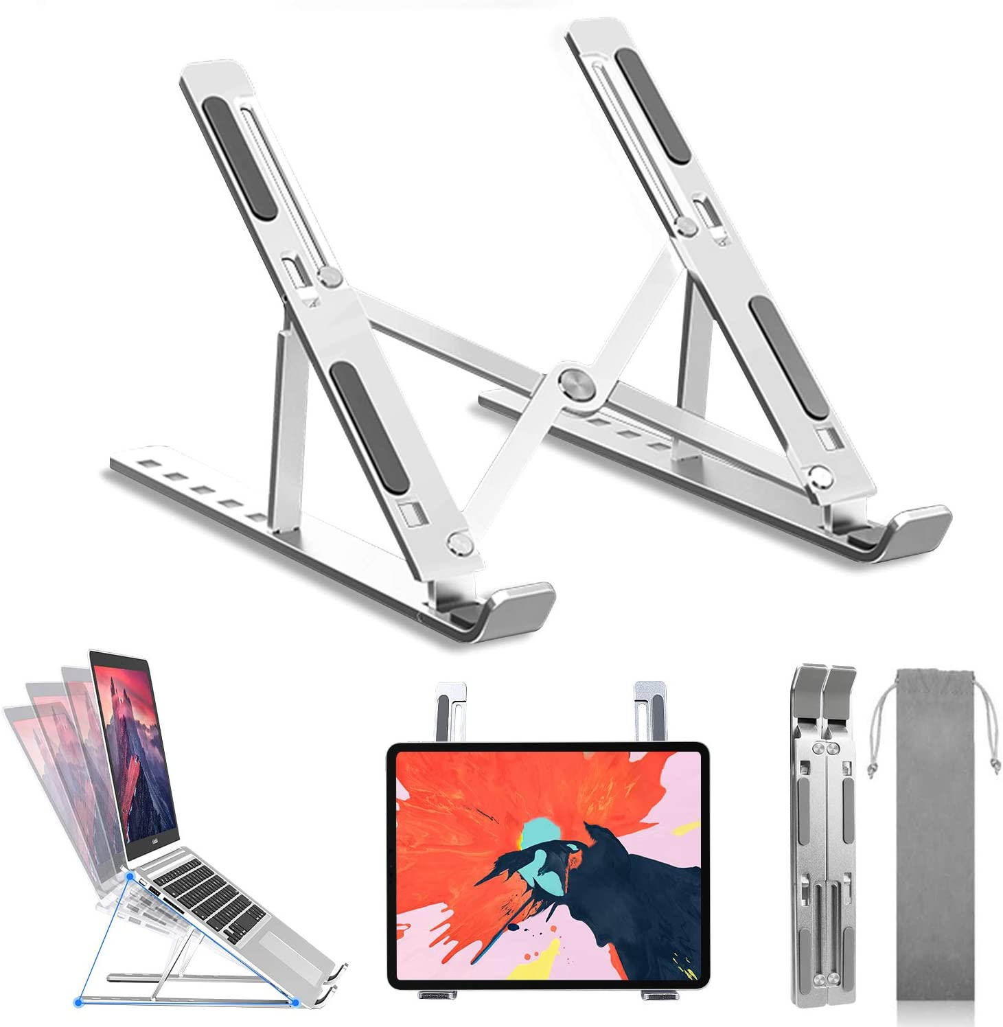 "Miuzei Laptop Stand, Adjustable Laptop Stand for Desk, Laptop Riser Aluminum Foldable Computer Stand, Notebook Holder Stand Support MacBook Air Pro,HP,Lenovo More 8-15.6"" Laptops & Tablet (Silver)"