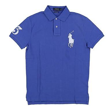 e0ef0d1c Polo Ralph Lauren Mens Big Pony Custom Slim Fit Mesh Polo Shirt (Small, Blue