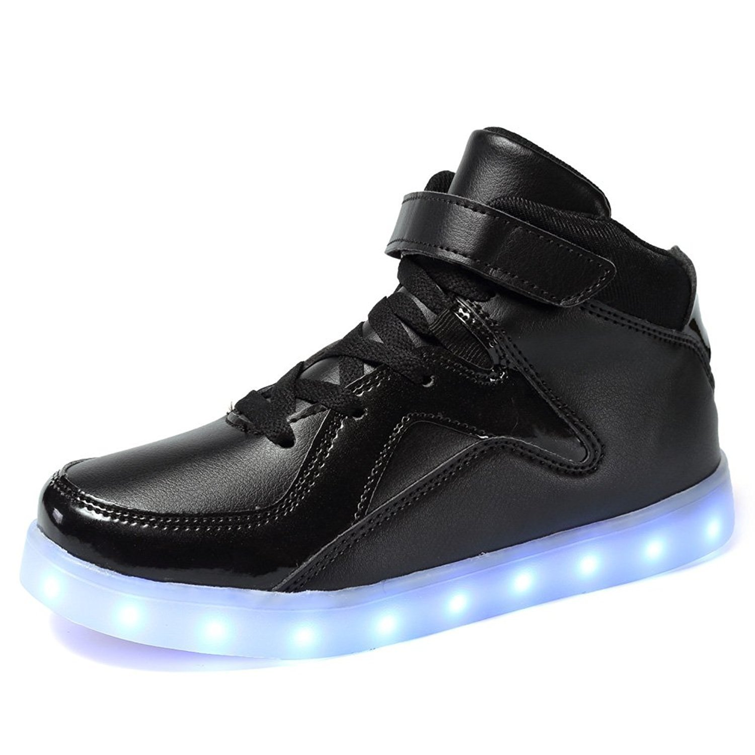 TUTUYU Kids 11 Colors LED Light Up Shoes High Top Fashion Flashing Sneakers Bright Black 38
