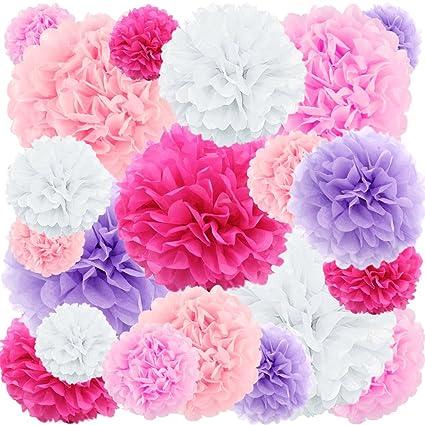 20 Ct Tissue Paper Pom Poms Flowers Rose