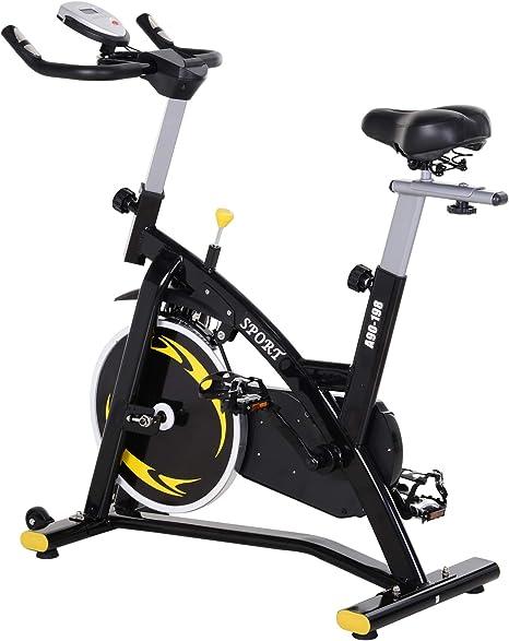 HOMCOM Bicicleta Estática Profesional Bicicleta Fitness con Pantalla LCD Asiento e Intensad Ejercicio Regulables Resistencia Magnética 47x120x104.5-117cm: Amazon.es: Deportes y aire libre