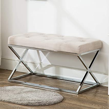 Amazoncom Upholstered Ottoman Bench X Metal Entryway Bench With