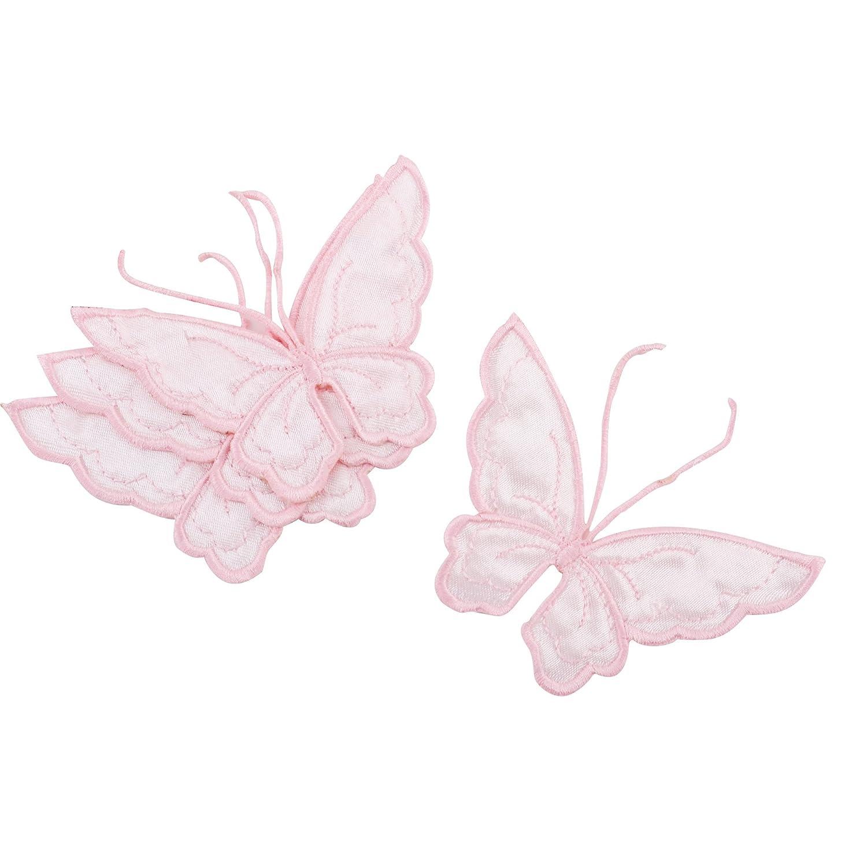 Bügelaufnäher Schmetterling 4er Set Stoff 8x10cm pink Patch Basteln Kreativ