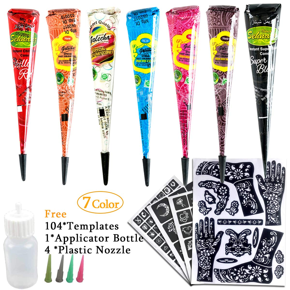 7Color Temporary Tattoo India Henna Kit Tattoo Paste Cone Body Art Painting Drawing with Free 104 pcs Tattoo Templates, 1 x Applicator Bottle and 4 x Plastic Nozzle by YLIANG