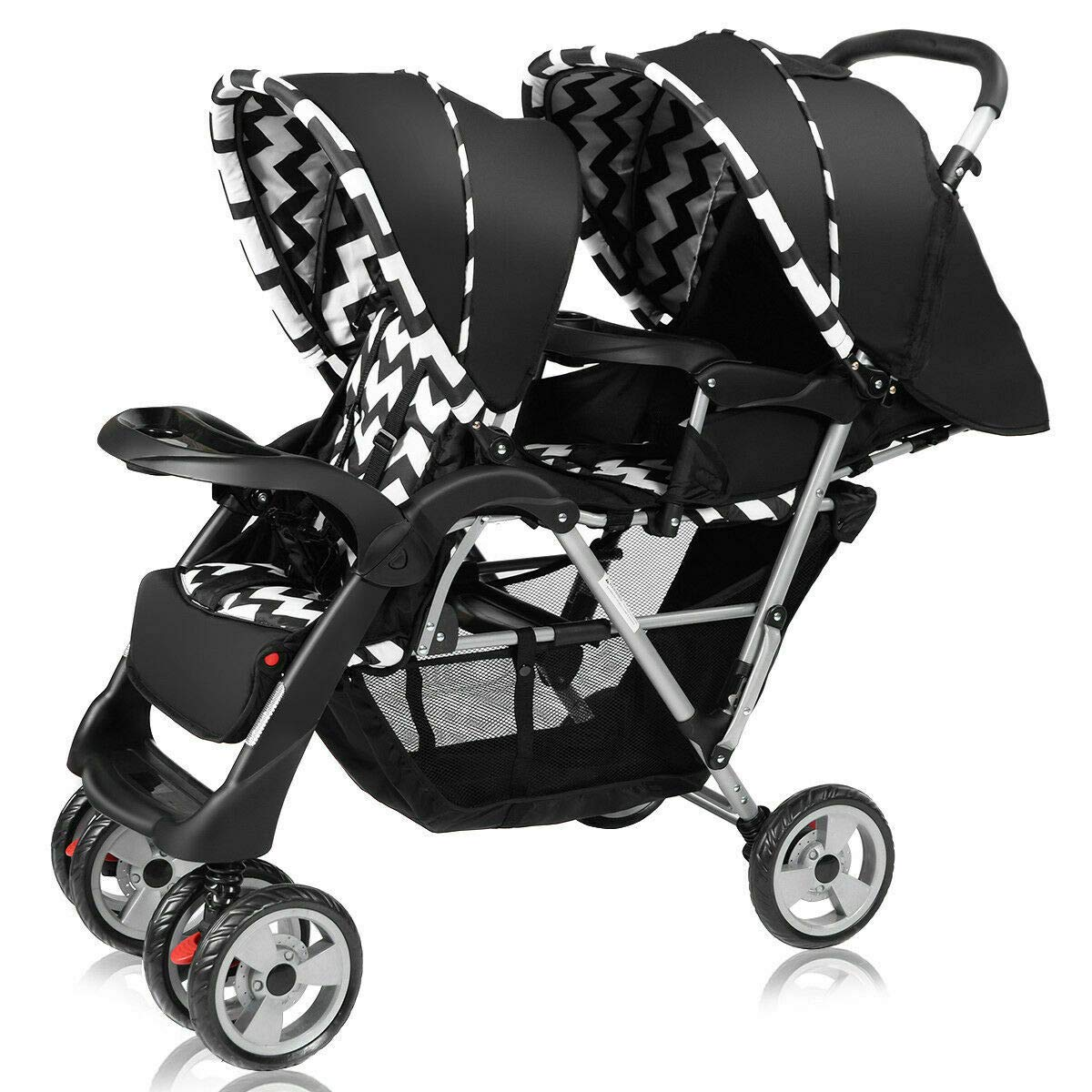 Cozinest Foldable Twin Baby Double Stroller Kids Jogger Travel Infant Pushchair Black