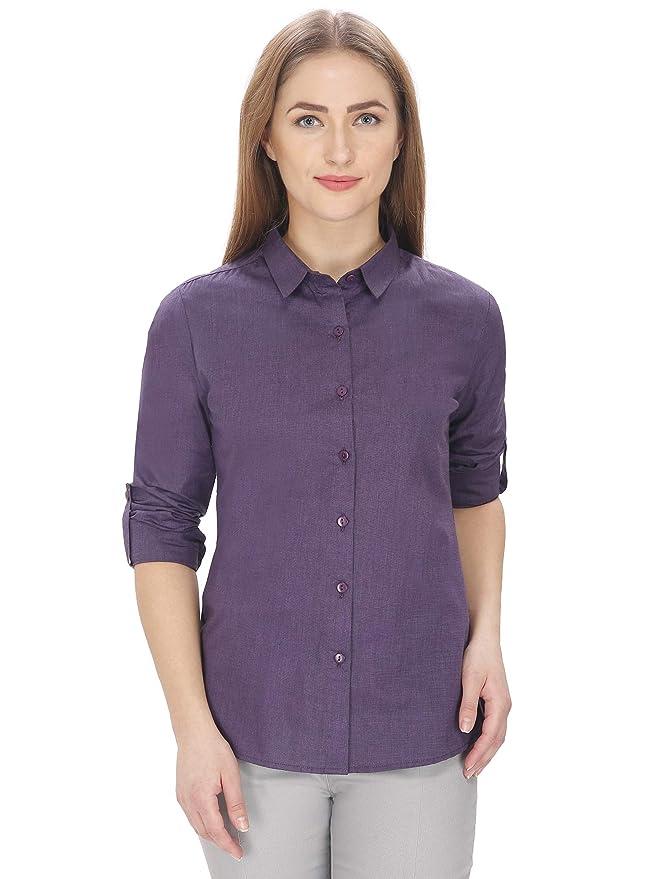 Leaf Women's Solid Formal Dark Purple Shirt