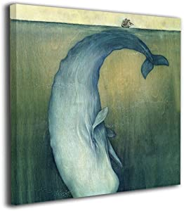 "SRuhqu Canvas Wall Art Prints 20""x20"" Nautical Sperm Whale Animal Sailboat Marine-Picture Paintings Modern Decorative Giclee Artwork Wall Decor-Wood Frame Gallery Stretched"