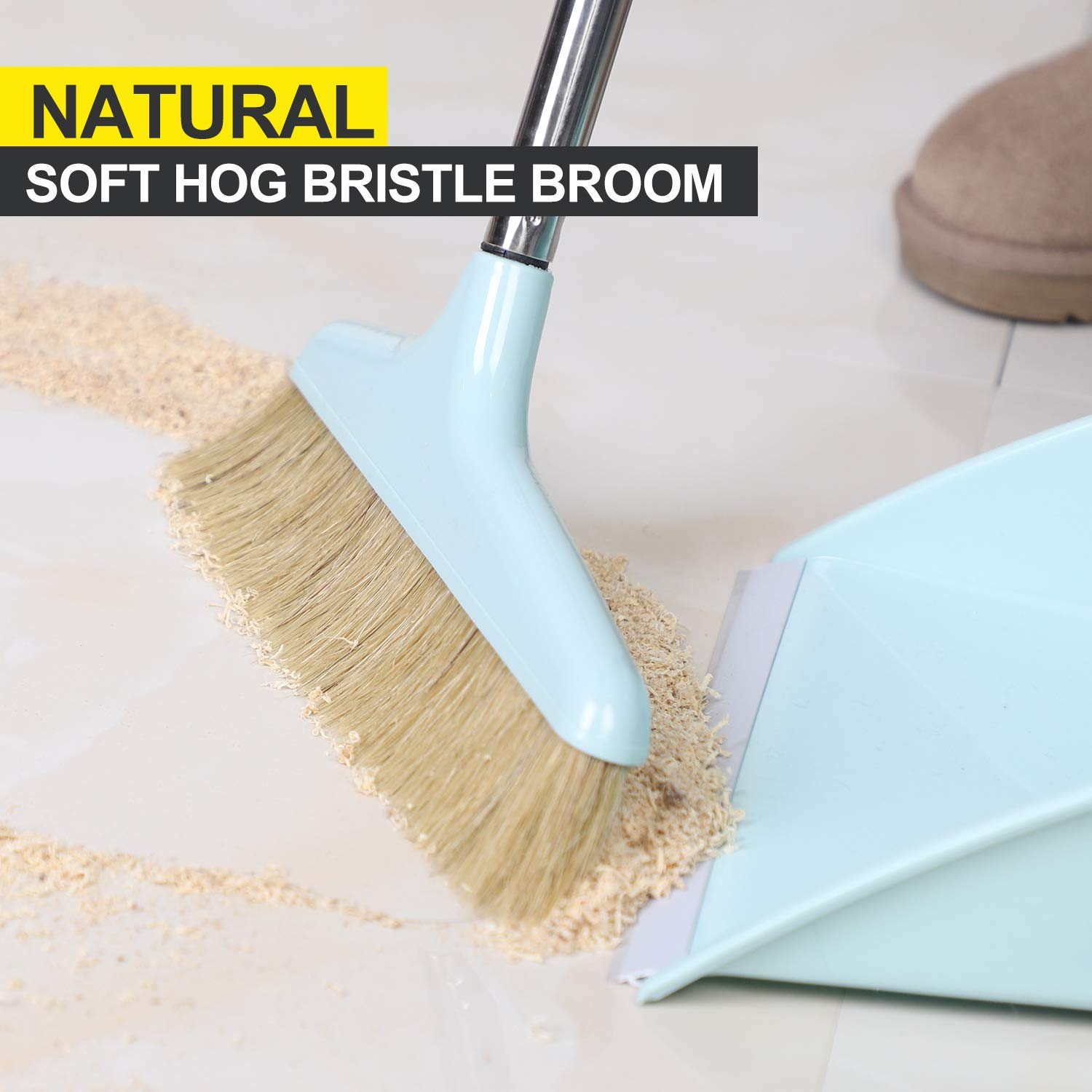 Midoneat Broom and Dustpan Set Squeegee 3 Packs Good Grips Sweep Set with Long Handle Natural hog Bristle Broom Rubber Lip Dustpan with Comb 180° Rotation Wiper .Sweeping for Kitchen Lobby Office by midoneat (Image #6)