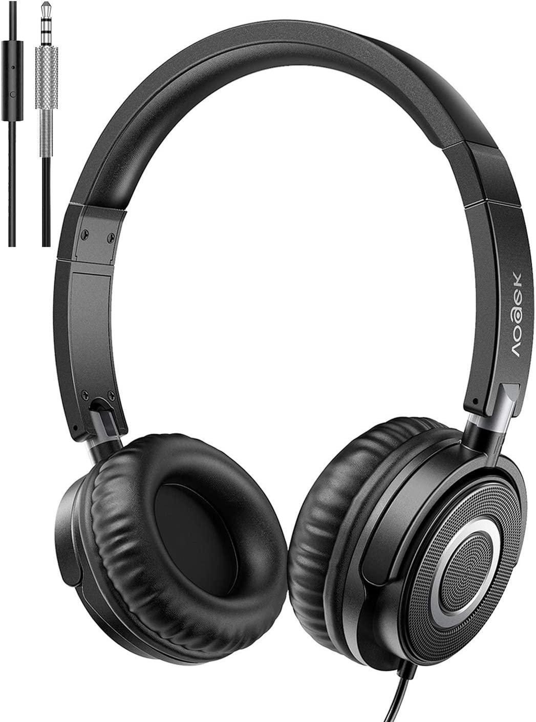 VOGEK On Ear Headphones with Mic, Lightweight Portable Fold-Flat Stereo Bass Headphones with 1.5M Tangle Free Cord and Microphone-Black: Electronics