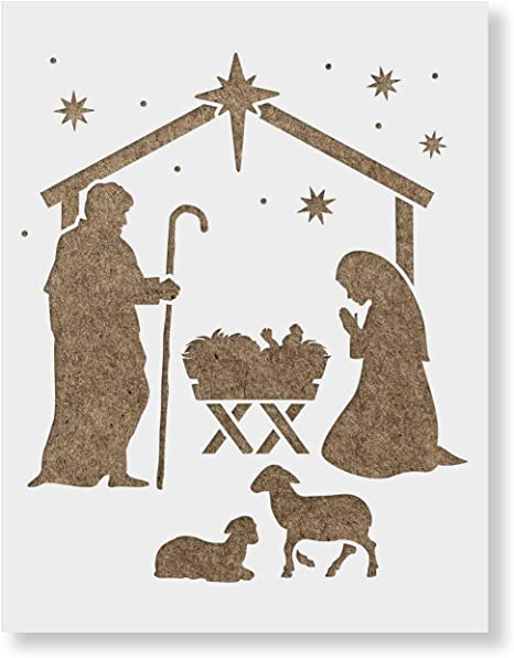 Nativity Scene Darice Craft Stencils 8.5 x 11 inches 2 pieces fnt
