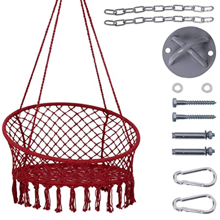 Lazy Daze Hammocks Handwoven Cotton Rope Hammock Chair Macrame Swing with Wall Ceiling Mount Set, 300 Pounds Capacity, 47 Width, for Indoor, Garden, Patio, Yard, Red