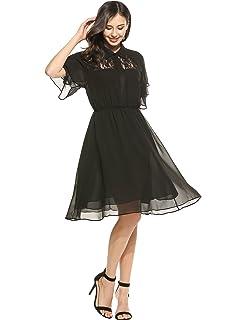 c94fc7775d26 ACEVOG Women's Lace Chiffon Summer Sundress Ruffles Sleeve A-Line Flare  Party Cocktail Dress