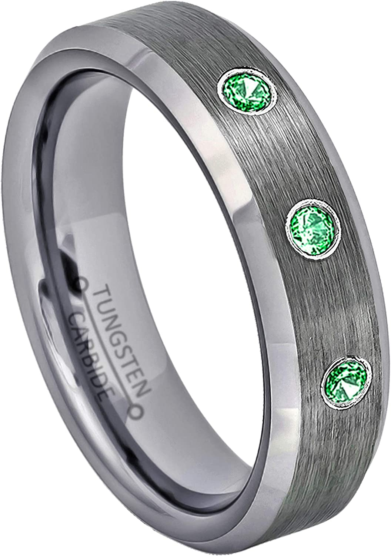Jewelry Avalanche 6MM Brushed Finish Beveled EdgeTungsten Carbide Wedding Band 0.21ctw Tsavorite Garnet 3-Stone Tungsten Ring January Birthstone Ring
