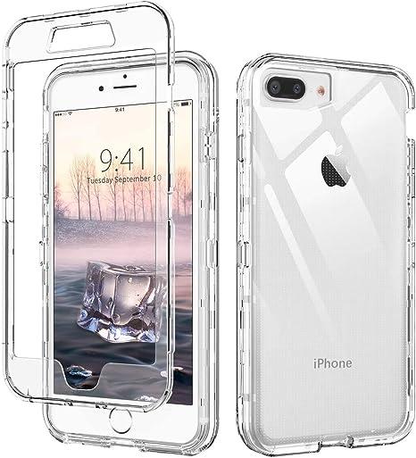 AICase Cover per iPhone 7 Plus/Cover ipone 8 Plus,Custodia per 8 Plus/7 Plus 360 Gradi Rugged Cover Antiurti Protezione Resistente Trasparente Case ...