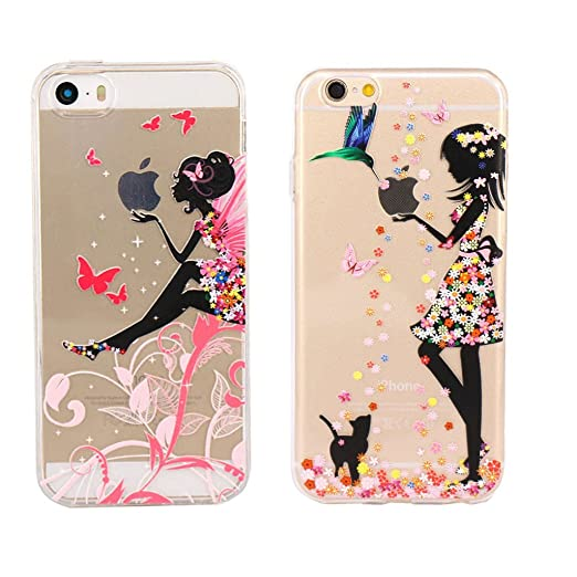 5 opinioni per iPhone 6 6S Cover , YIGA 2 X 3D Ali Ragazza e Uccello Giovane Ragazza Silicone