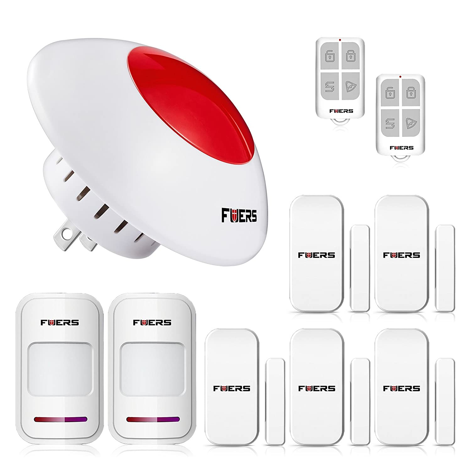 Fuers Standalone Home Office & Shop Security Alarm System Kit,Wireless Indoor Strobe Flashing Siren with Remote Key Fob and Door Contact Sensor