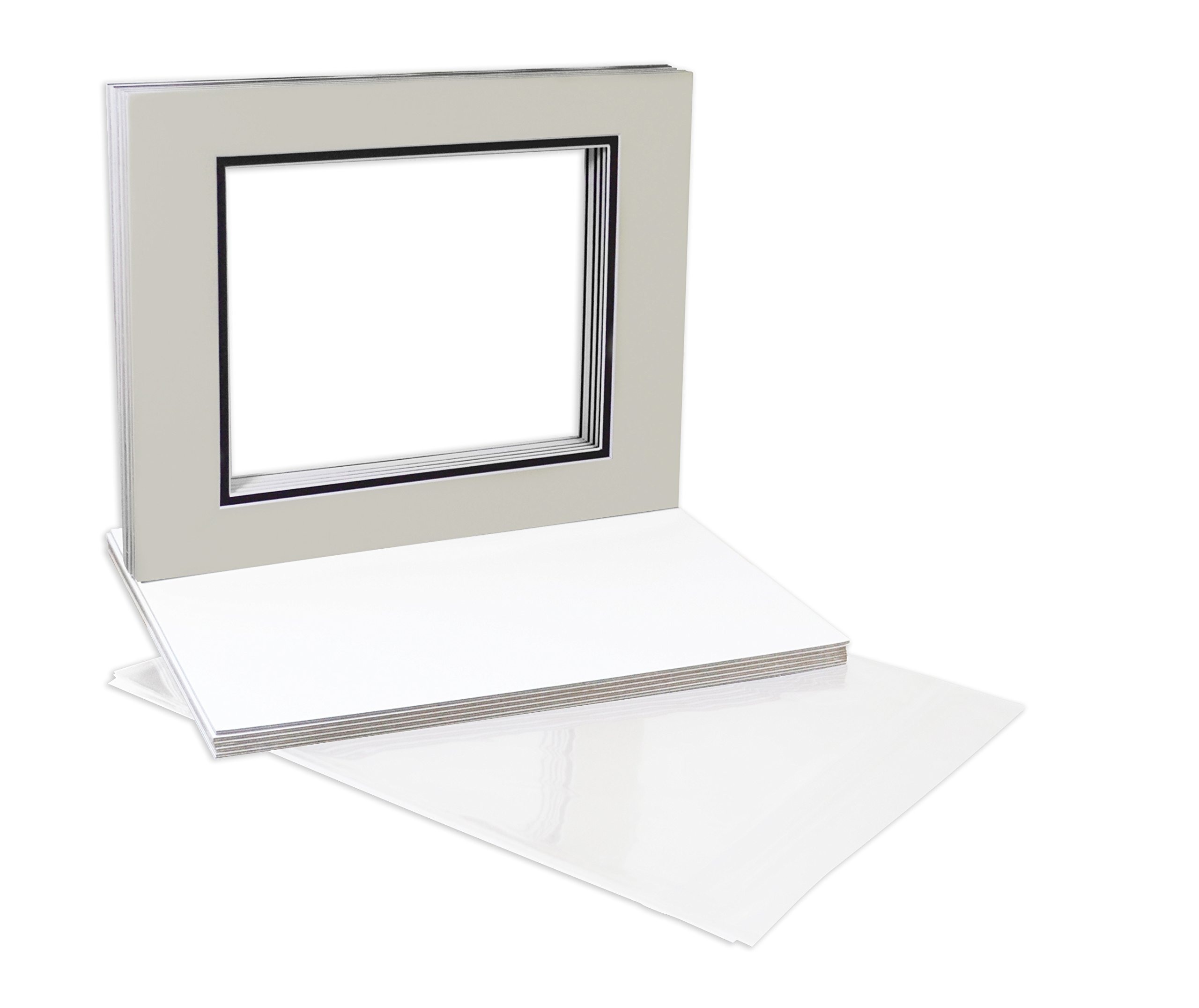 Golden State Art, Double Picture Mats with White Core Bevel Cut for 8X10 Photo Pictures (Mats, Backing, Clear Bags Included), Light Gray Over Black, 11x14-10 Pack (Double Mat) by Golden State Art
