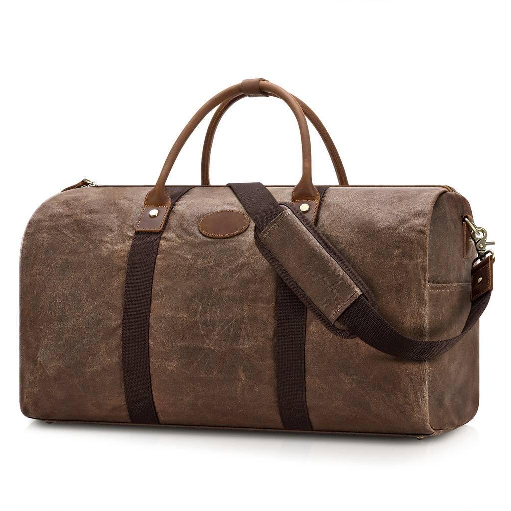 Plambag Waterproof Canvas Duffel Bag, Leather Trim Travel Carryon Handbag Shoulder Bag(Coffee)
