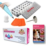 Cake Decorating Tips Set - the ONLY Cake Decorating Supplies Set with BONUS Reusable Pastry Bag - 3x Cake Leveler - Cake Flowers Nail & Storage Case. Professional Stainless Steel Cake Icing Tips Kit