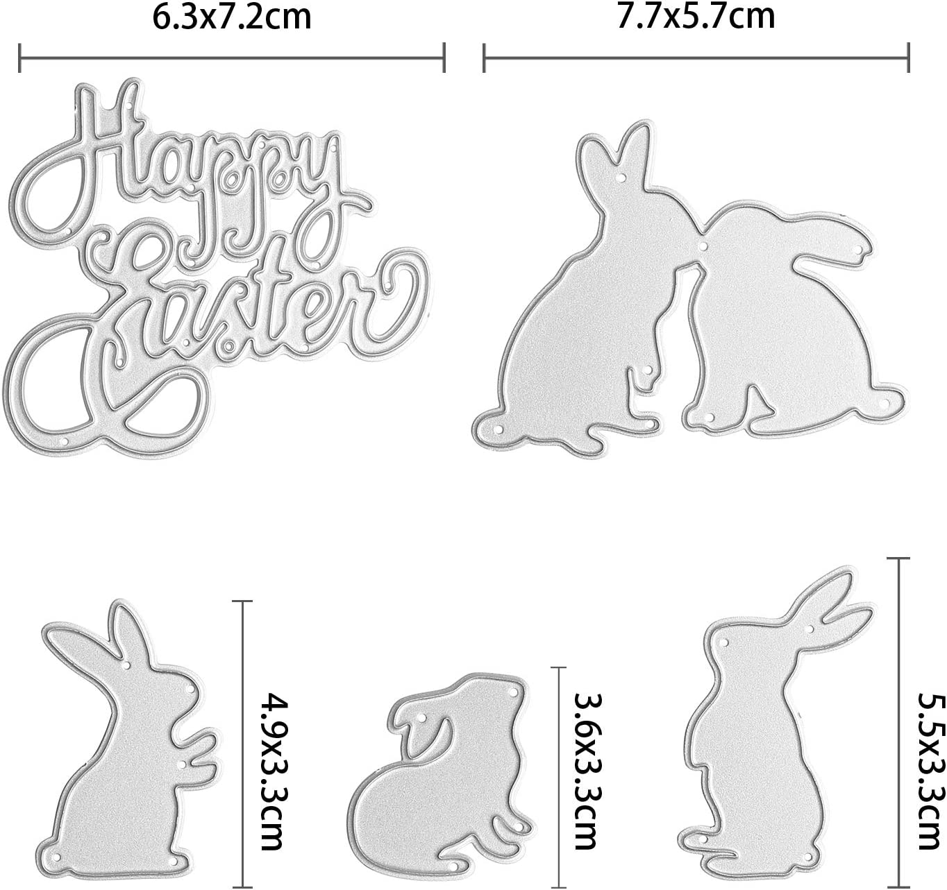 New 5 Pieces Totally TuoShei Eater Cutting Dies Happy Easter Letter and Bunny Rabbit Metal Stencil Template for DIY Scrapbook Album Paper Card Embossing Style 1