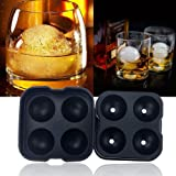 Ogori Round Silicone Ice Balls Maker Tray Four Large Sphere Molds Cube Whiskey Cocktails with 4 X 4.5cm Ball Capacity