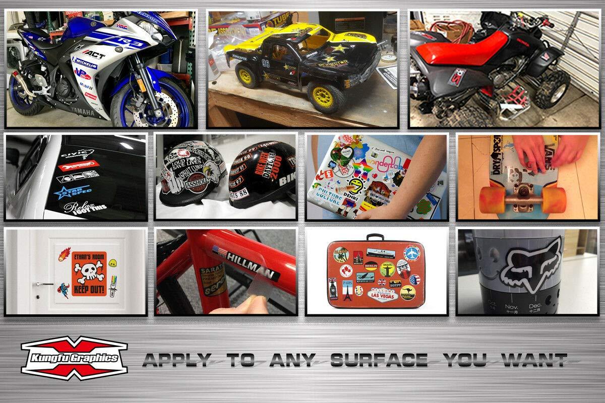 White Black Kungfu Graphics Repsol Showa Micro Sponsor Logo Racing Sticker Sheet Universal 7.2x 10.2 inch
