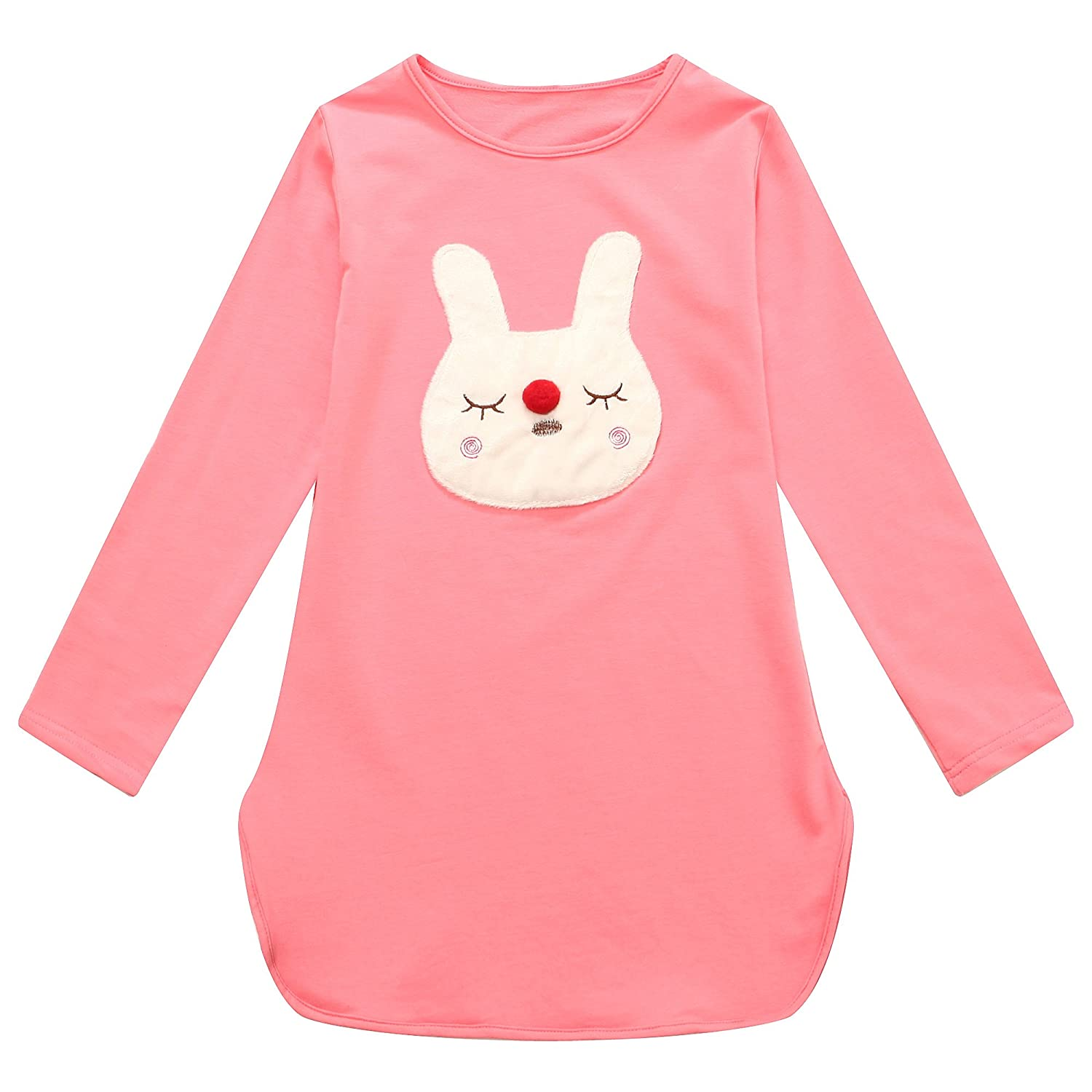 Richie House Girls' Green Bunny Applique Long Sleeved Top 2-10 RH1429