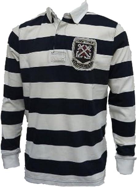 Tommy Hilfiger – sudadera vaquera de rugby para hombre, varias tallas disponibles Navy/White Stripes X-Large: Amazon.es: Ropa y accesorios