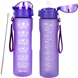 32oz Leakproof Water Bottle with Time Marker & Straw lid to Ensure You Drink Enough Water Throughout The Day for Fitness and Outdoor Enthusiasts, BPA Free, with Straw Brush