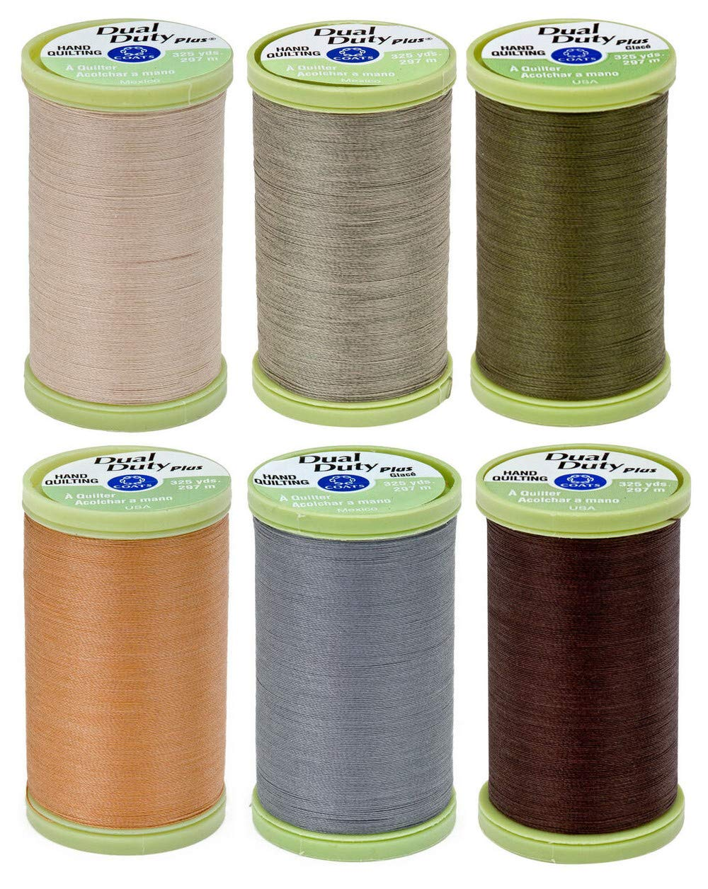 2-Pack Bundle Coats /& Clark Dual Duty Plus Hand Quilting Thread 325yds Field Green s960-6670