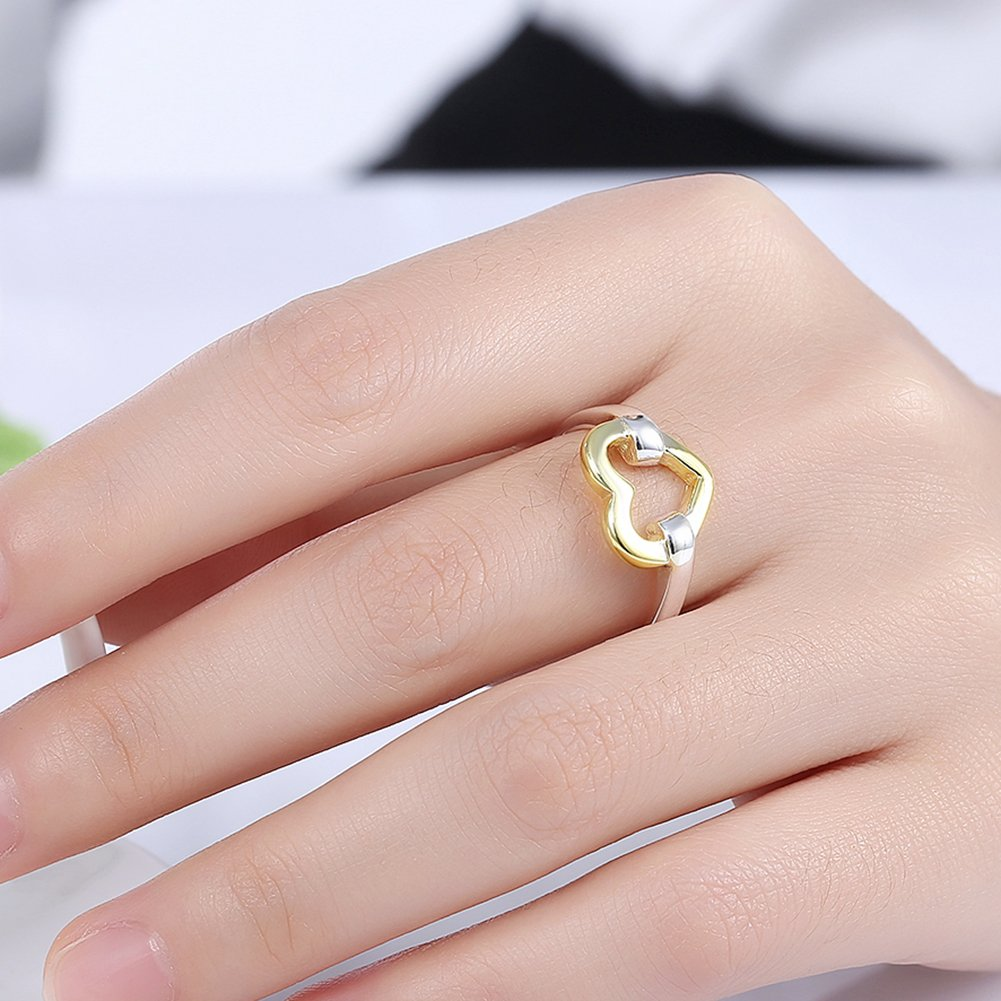Amazon.com: BEMI Romantic 925 Sterling Silver Plated Gold Heart Band ...