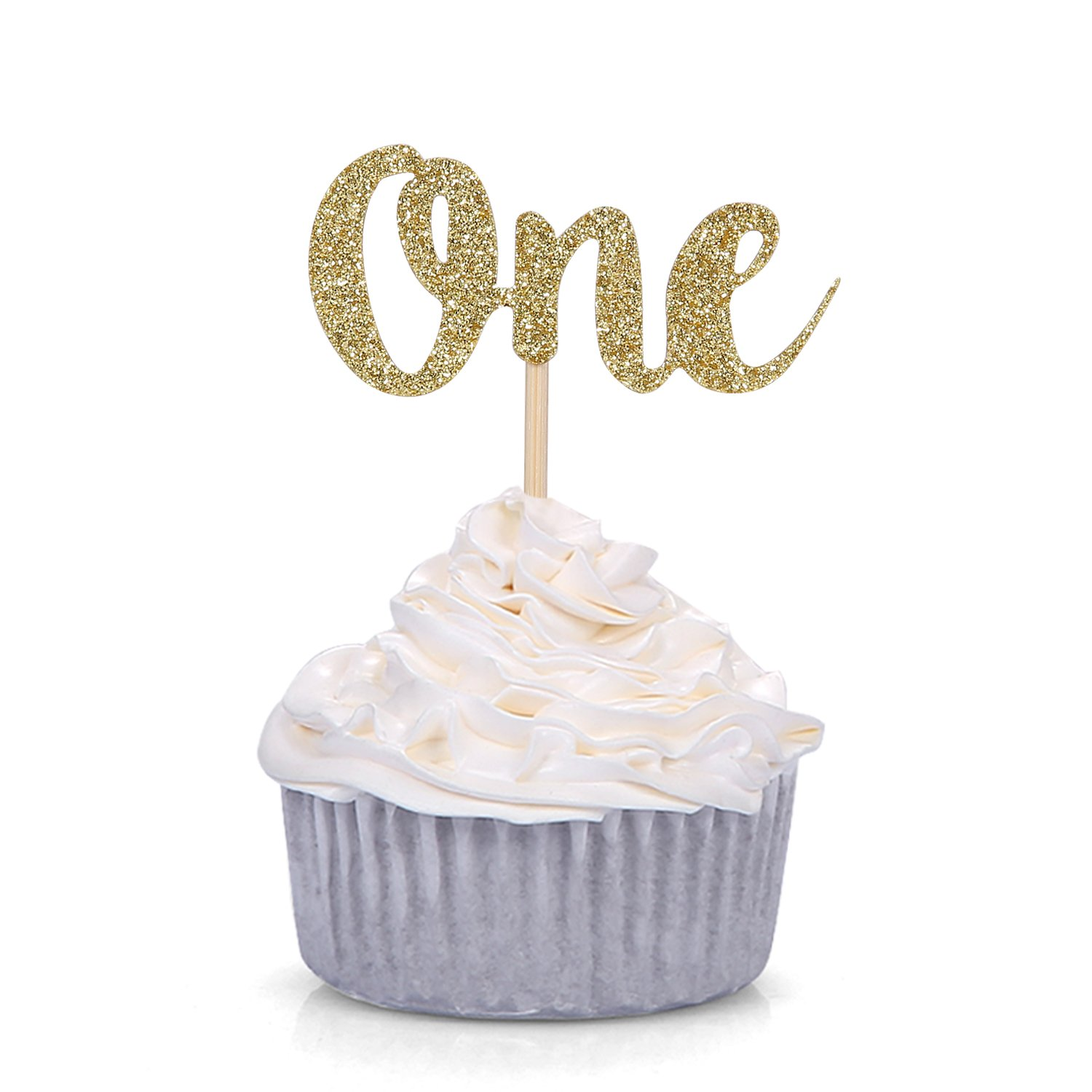 Super Set Of 24 Gold Glitter Number One Cupcake Toppers Kids First Birthday Cards Printable Giouspongecafe Filternl