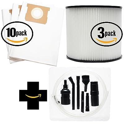 30de remplacement Shop-Vac 12b225a Sacs d'aspirateur et 3Filtre à cartouche avec 7pièces Micro sous vide kit de fixation–Compatible Shop-Vac 90661et sachets 90304&