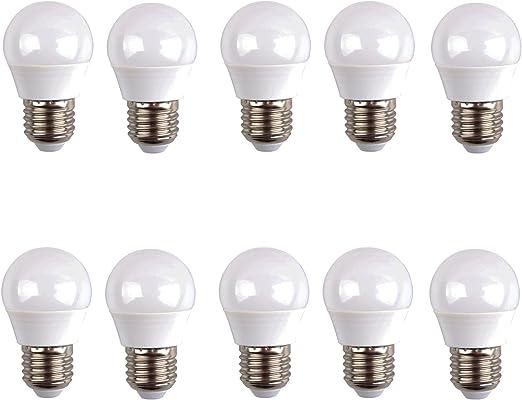 LED esférica (pack 10 unidades) 6W 200º Blanco neutro 4500K E27 520lm 220V-240v Alta calidad: Amazon.es: Iluminación