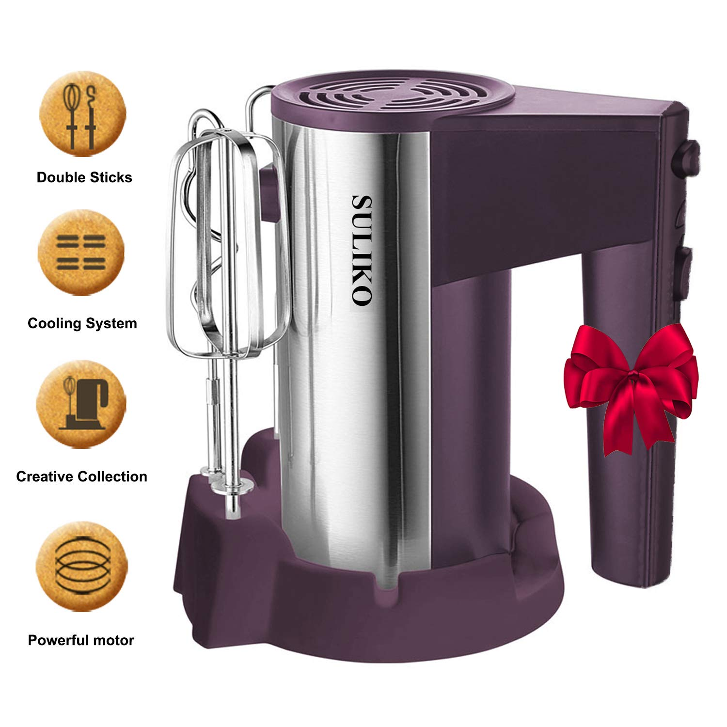 Electric Hand Mixer, Suliko Stainless Steel Mixer Electric 200W 5 Different Speed Settings and Turbo Button with Sturdy Beaters and Dough Hooks (Purple) by Suliko