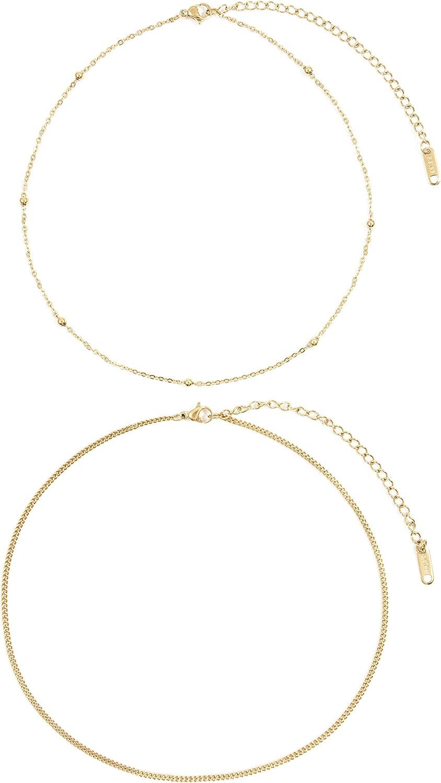 Happiness Boutique Damas Conjunto de Chokers Delicados Chapados en Oro | 2 Collares Delicados Minimalistas de Acero Inoxidable