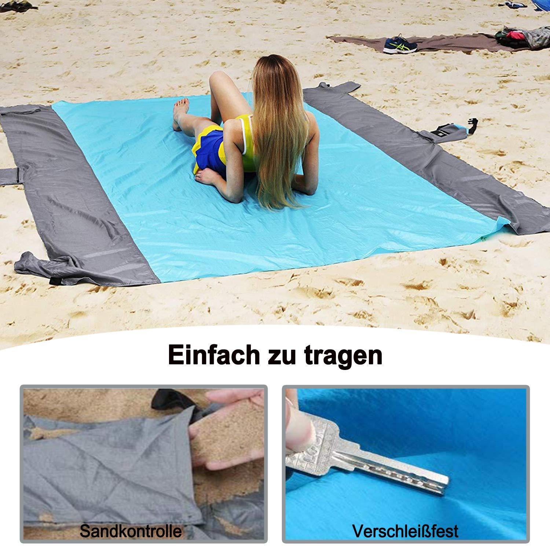 Caminatas y Playa Manta de Playa Impermeable Manta de Bolsillo Viajar Adecuada para Acampar Odoland Manta de Picnic Plegable 110 X 160 cm