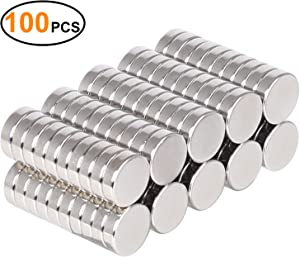SMARTAKE 100 Pcs Refrigerator Magnets, Small Round Office Magnets, Multi-Use Premium Brushed Nickel for Fridge, Whiteboard, Dry Erase Board in Home, Kitchen, Office and School, 10 x 3 mm