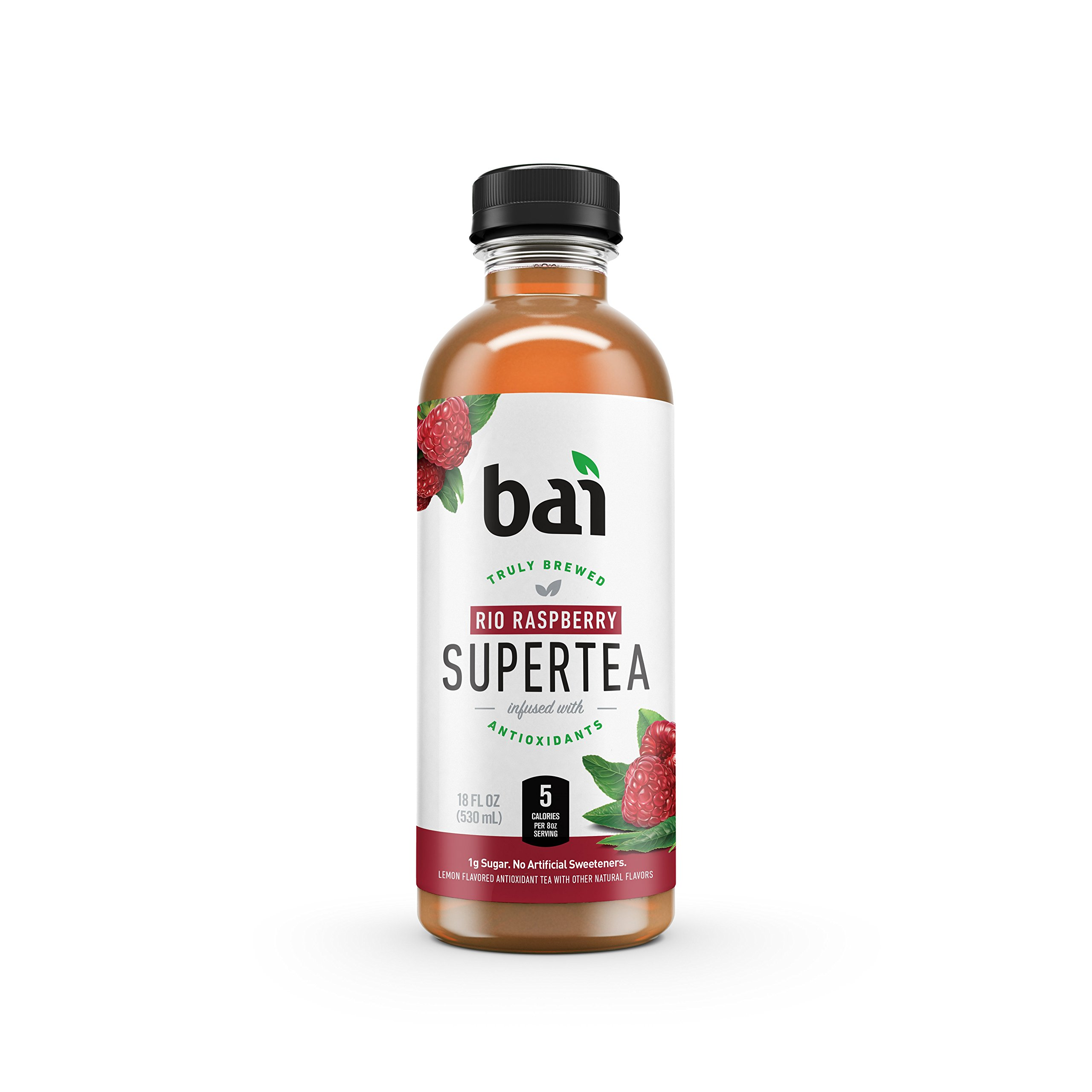 Bai Iced Tea, Rio Raspberry, Antioxidant Infused Supertea, Crafted with Real Tea (Black Tea, White Tea), 18 Fluid Ounce Bottles, 12 count