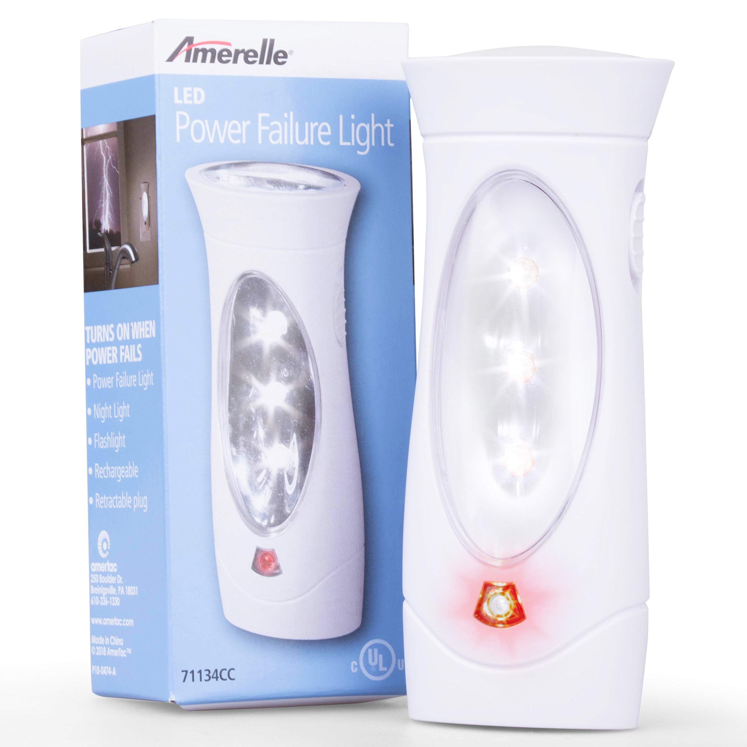 Amerelle Emergency Lights For Home by Amertac, 6 Pack - Plug-In Emergency Preparedness Power Failure Light and Flashlight, Automatically Lights When the Power Fails - Portable, Rechargeable - 71134CC by Amerelle