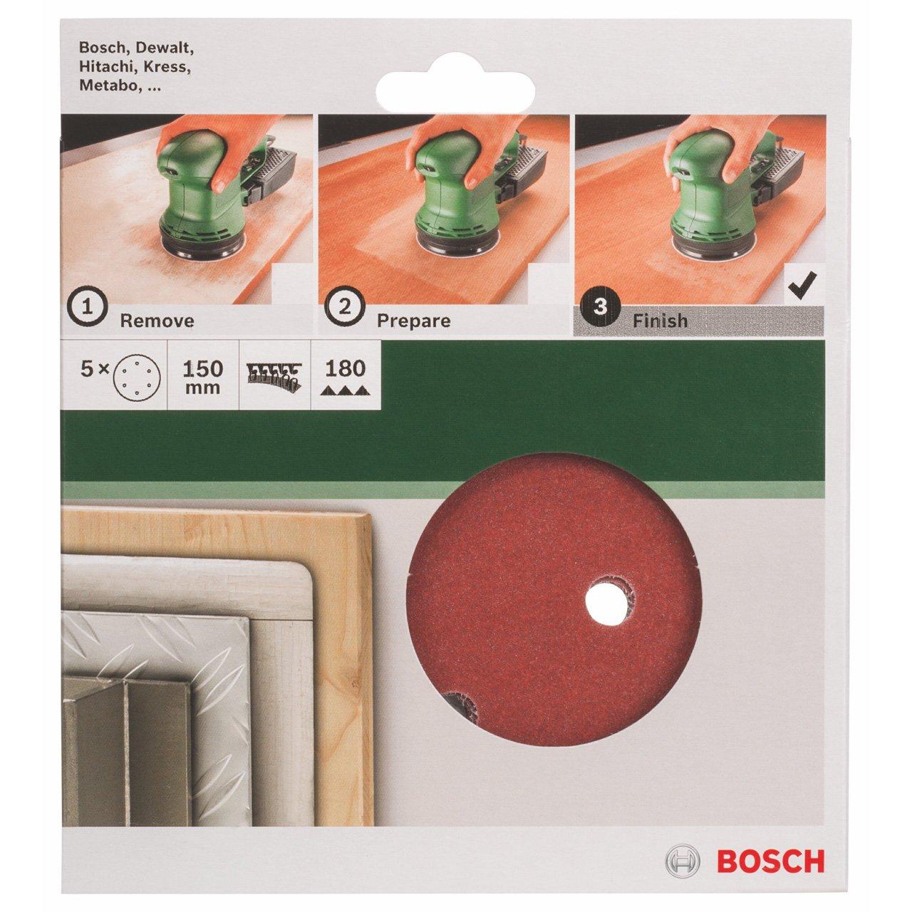 Bosch 2609256A32 5-Piece Sanding Sheet Set for Random Orbit Sanders 150.120