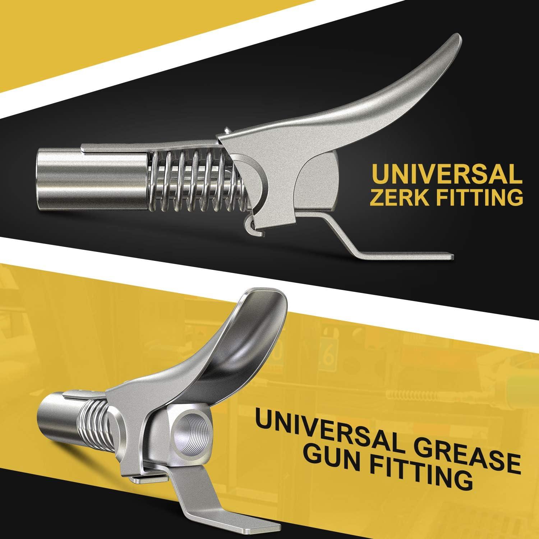 Attacco accoppiatore per pistola a grasso doppia impugnatura alta pressione 10000 PSI compatibile con tutte le pistole a grasso Pinza di blocco pistola a grasso AUU flessibile e banda isolante