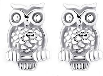 FIVE-D Ohrringe Ohrstecker kleiner Uhu Eule auf Ast 925 Sterling Silber in Geschenkbox