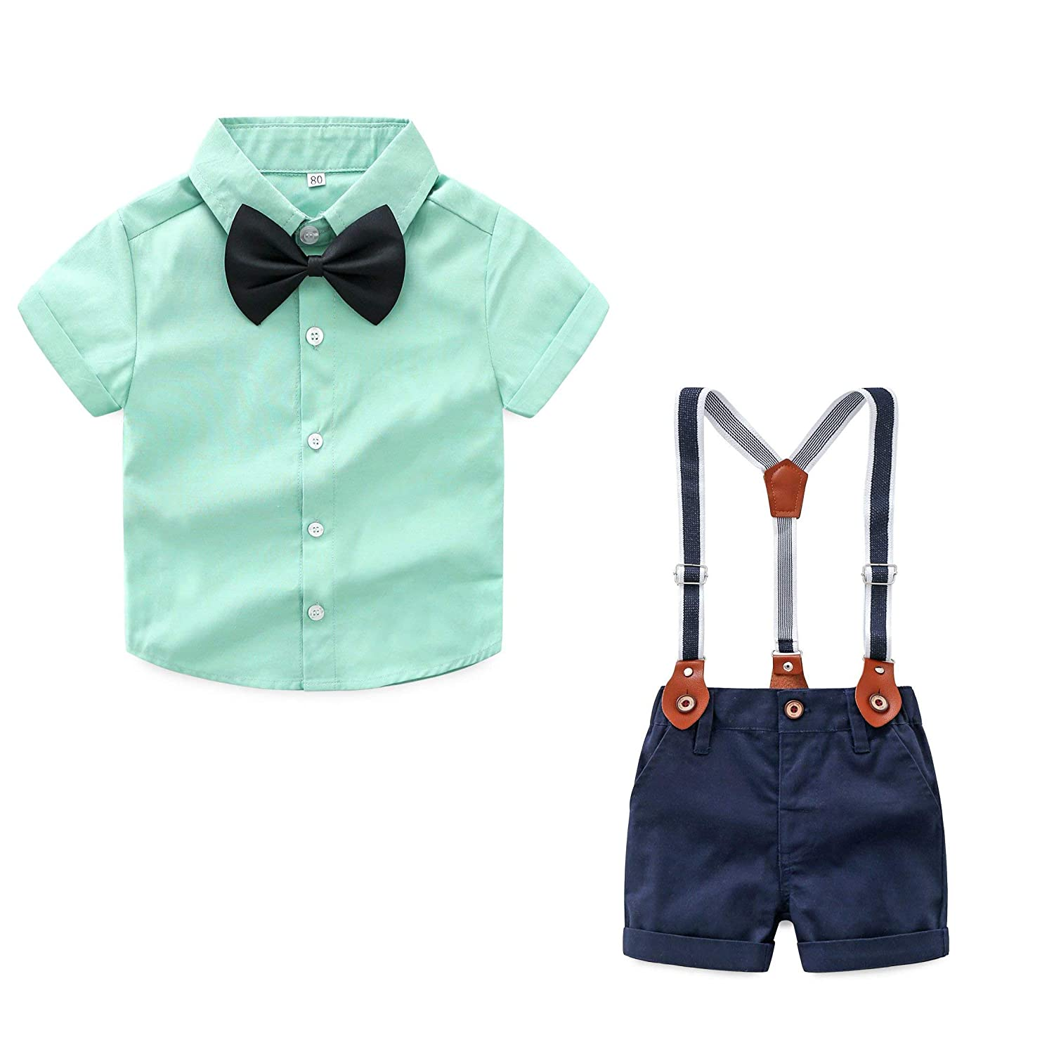 JIANLANPTT Baby Boys Formal Shirt+Suspender Shorts Bowtie Toddler Gentlemant Set