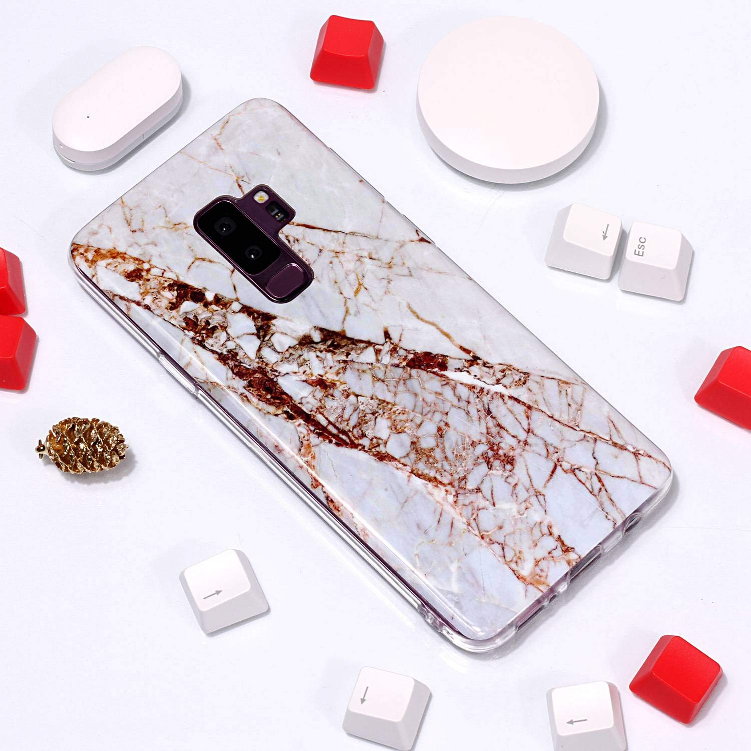 for Samsung Galaxy S9 Plus Marble Case with Screen Protector,Unique Pattern Design Skin Ultra Thin Slim Fit Soft Gel Silicone Case,QFFUN Shockproof Anti-Scratch Protective Back Cover - White by QFFUN (Image #4)
