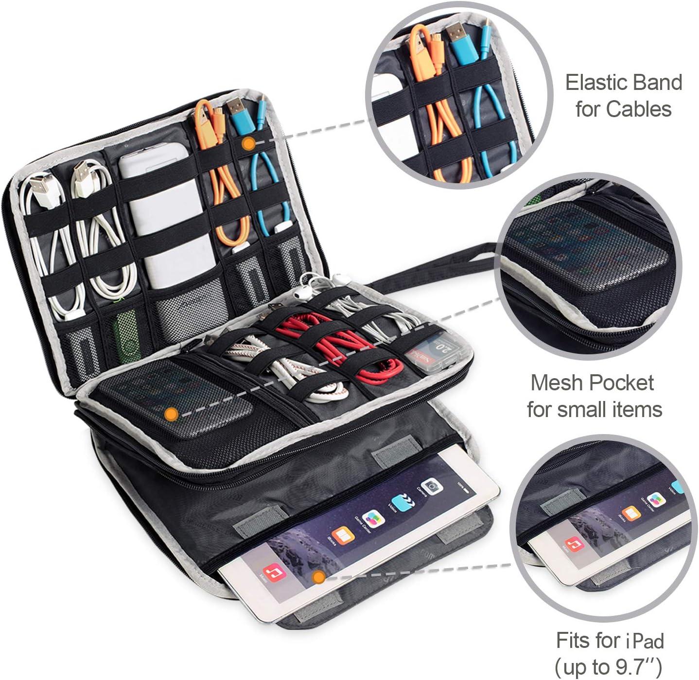 Sac des Accessoires Electroniques de Haute Capacit/é pour Ipad C/âbles USB BUBM Organiseur de Voyage Universe Large, Noir Disque Dur Batterie Cartes M/émoires et plus Double Couches avec Fermeture /à Glissi/ère